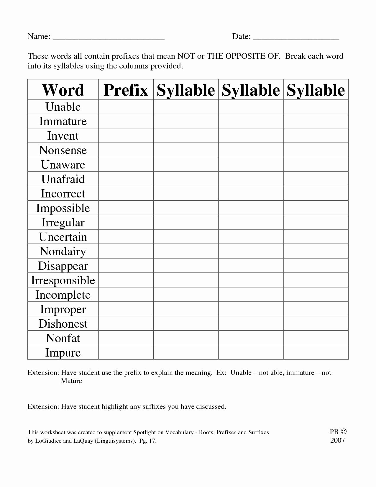 50 Prefixes And Suffixes Worksheet In