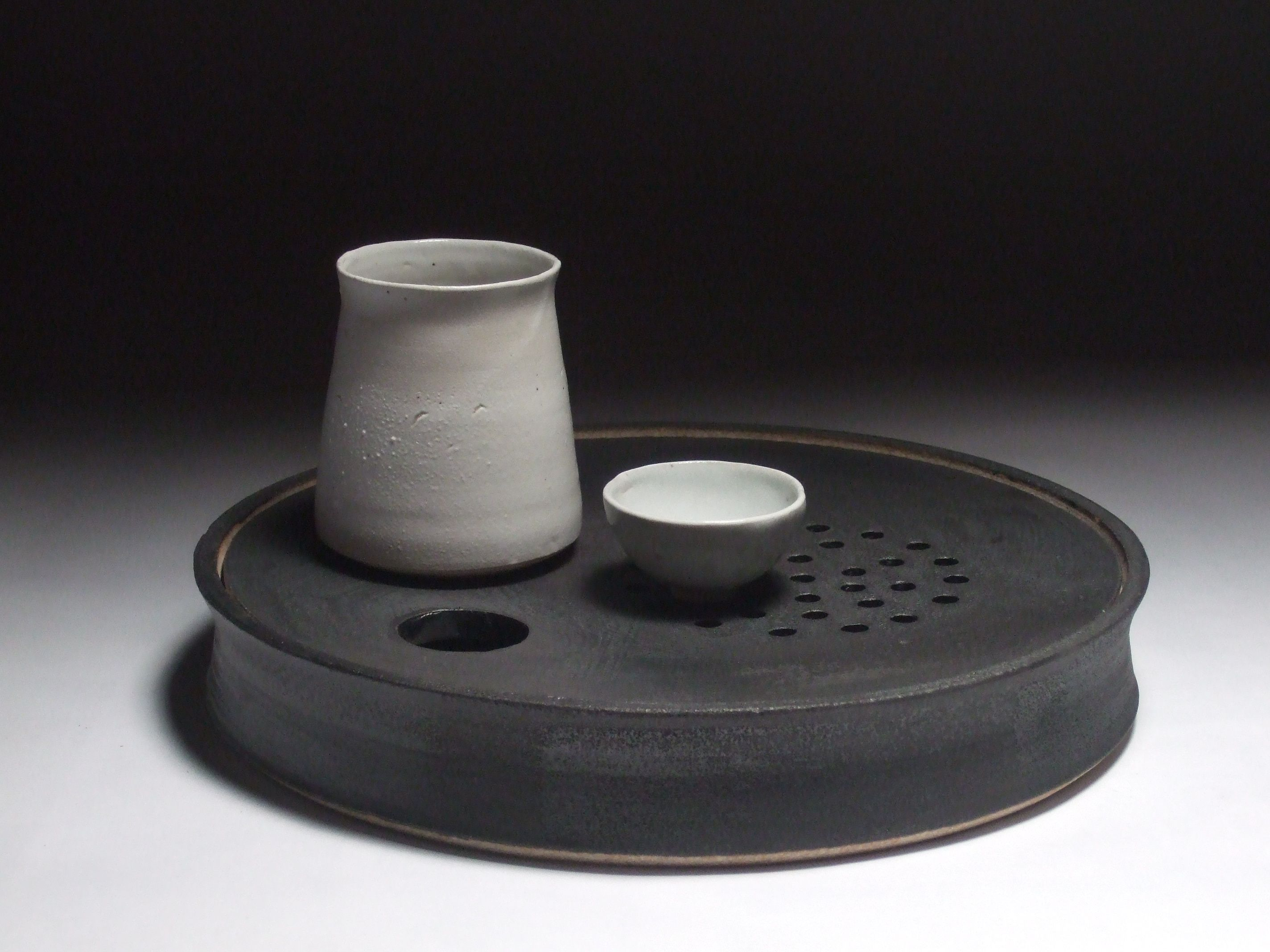 Stoneware Ceramic Gongfu Tea Tray Pitcher And Teacup