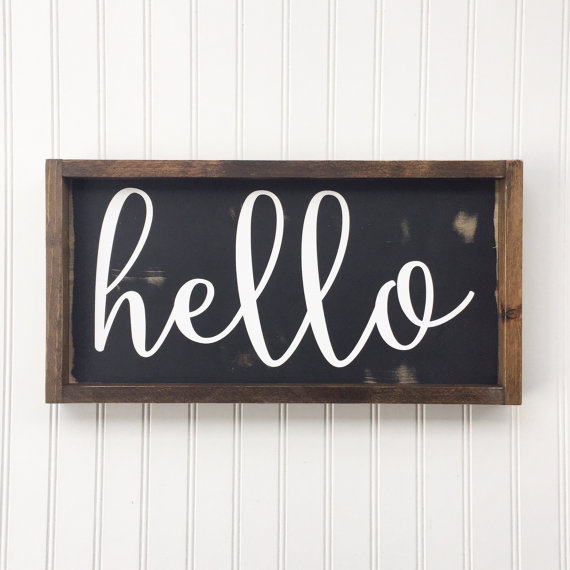 Hello Framed Wood Sign, Cursive Handwritten Font Decor, Hand
