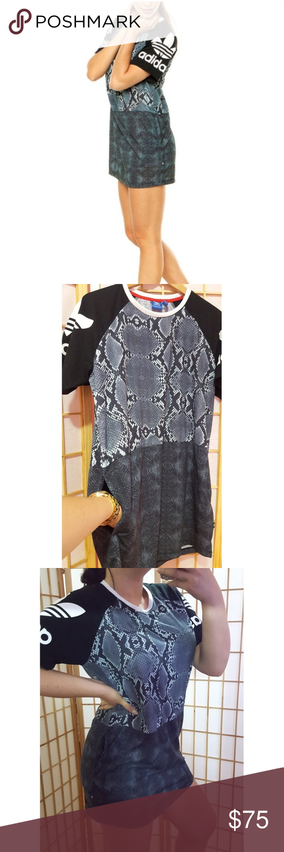 d7e2504cea4 Adidas🖤Snake Print T Shirt Dress M Love this bc it has pockets💃 Great  condition zero flaws Sold out online Can also be worn with leggings as a  tunic ...