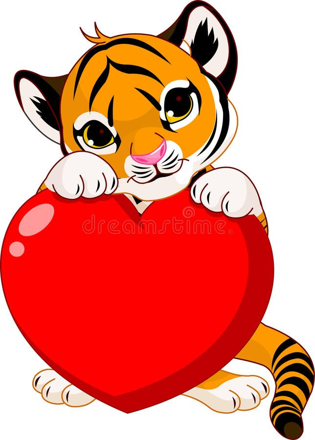 Cute tiger cub holding heart. Valentine???s day Illustration of cute tiger cub h , #Affiliate, #cub, #holding, #Cute, #tiger, #heart #ad