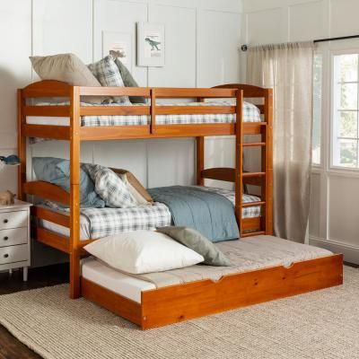 Welwick Designs Solid Wood Twin Over Twin Bunk Bed Storage