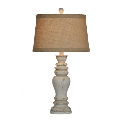 Rustic distressed cream table lamp cream table lamps for Distressed metal floor lamp