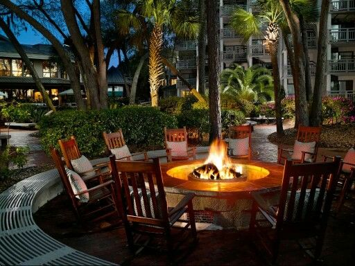 Relaxing fire pit on this patio.   Fall weekend getaway ...