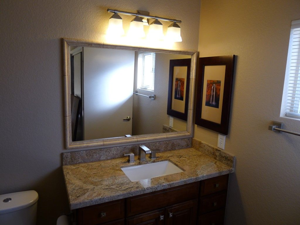 Tile Mirror Frame: Camargo Ogee Stone Tile. Mocca Juparana Granite Counter  Tops With A