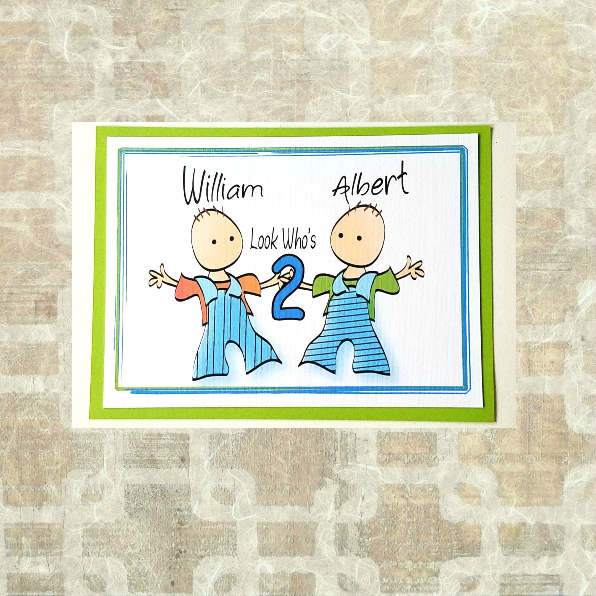 Personalized 1st Birthday Card For Twins 2nd Bday Card For Etsy 1st Birthday Cards Birthday Cards For Twins Birthday Greeting Cards