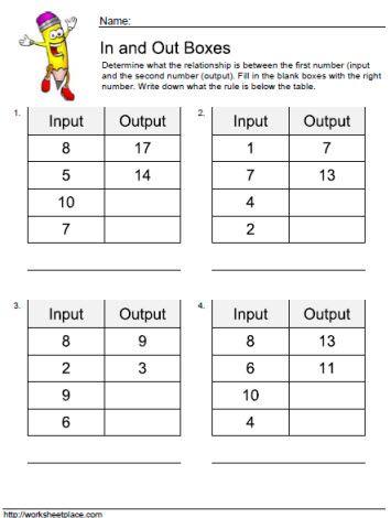 Input Output Worksheet 1