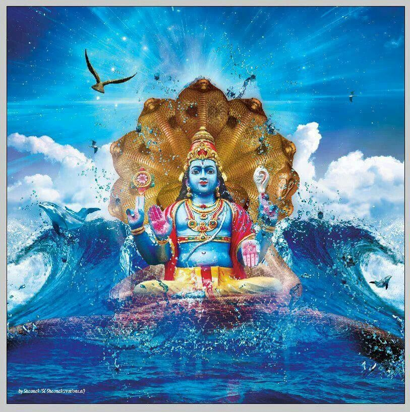 Avatar 2 Oceans: Hindi God Krishna In Ocean Wave With Dolphins...painting