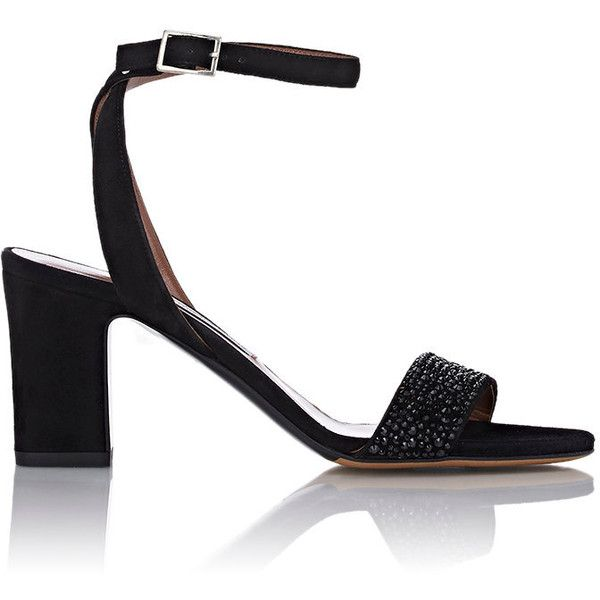 Tabitha Simmons Women's Embellished Leticia Ankle-Strap Sandals (3.330 BRL) ❤ liked on Polyvore featuring shoes, sandals, black, black embellished sandals, high heel sandals, black suede sandals, black shoes and black suede shoes