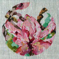 Joy Juarez Flower Circle Pink needlepoint hp 18 ct