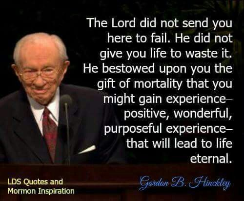 Gordon B. Hinkley quote- The Lord did not send you here to fail.  He did not give you life to waste ot.  He bestowed upon you the gift of mortality that you might gain experience- positove, wonderful, purposeful experience- that will lead to life eternal.
