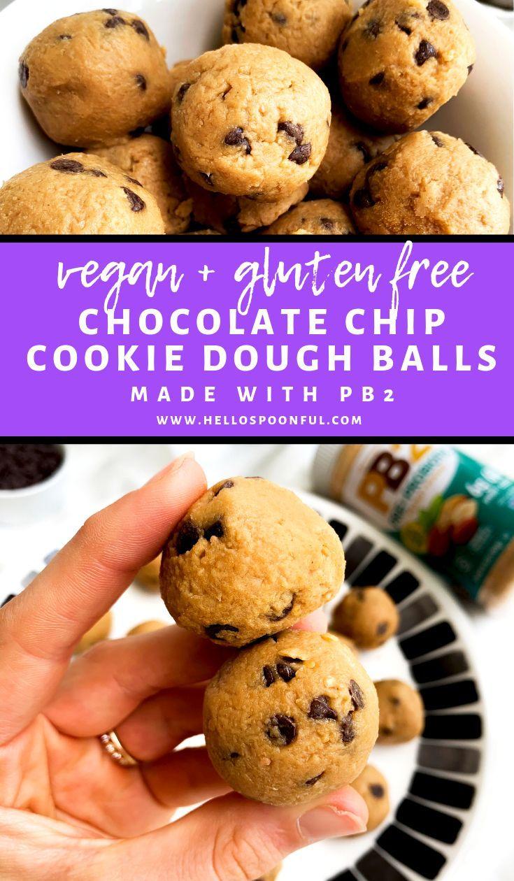 PB2 Chocolate Chip Cookie Dough Balls   Vegan, Gluten Free ...