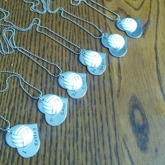Hand Stamped Volleyball Necklace.  Great Volleyball Team Gifts  -  by BlackWolfDesigns21