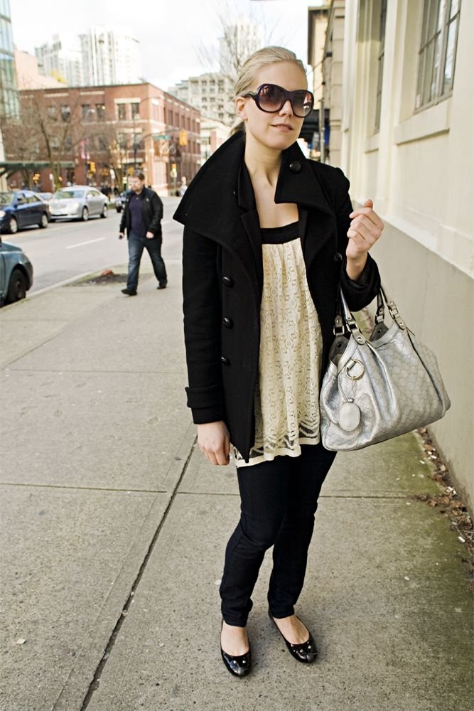 *black pea coat, lace top, bag
