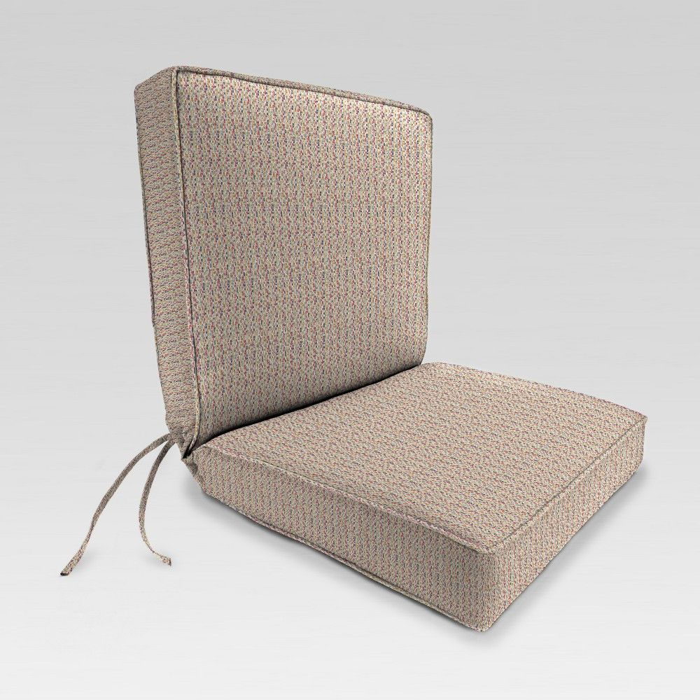 Outdoor Boxed Edge Dining Chair Cushion Beige Red Dots Jordan