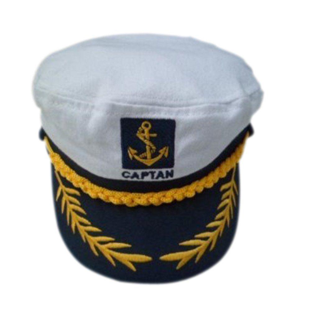 White Adult Yacht Boat Ship Sailor Captain Costume Hat Cap Navy Marine  Admiral 942e9afa1447