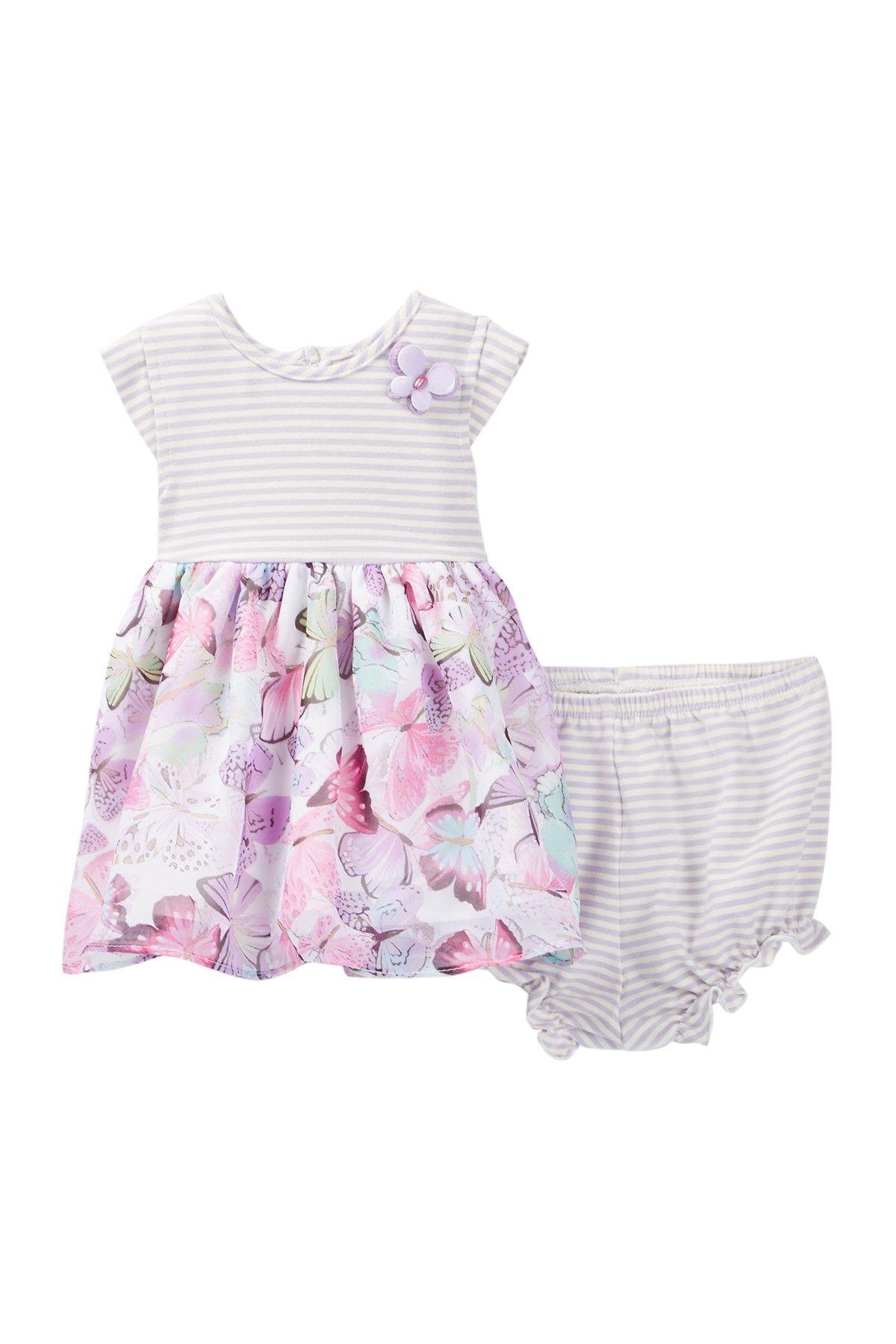 Stripe & Butterfly Dress Baby Girls