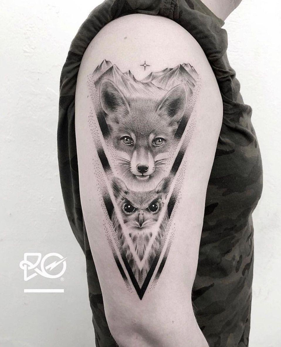 Fox And Owl Tattoo On The Arm Done By Ro Tattoo Www Otziapp Com Fox Tattoo Men Tattoos Tattoos For Guys
