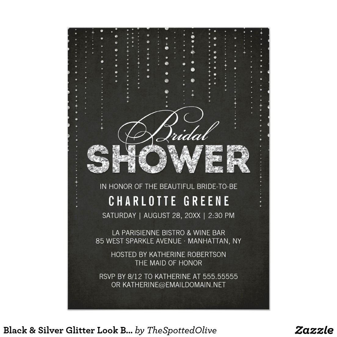 Black Amp Silver Glitter Look Bridal Shower Invitation