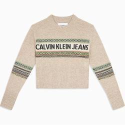 Photo of Calvin Klein Logo-Pullover mit Fair-Isle-Muster aus Lammwolle S Calvin KleinCalvin Klein
