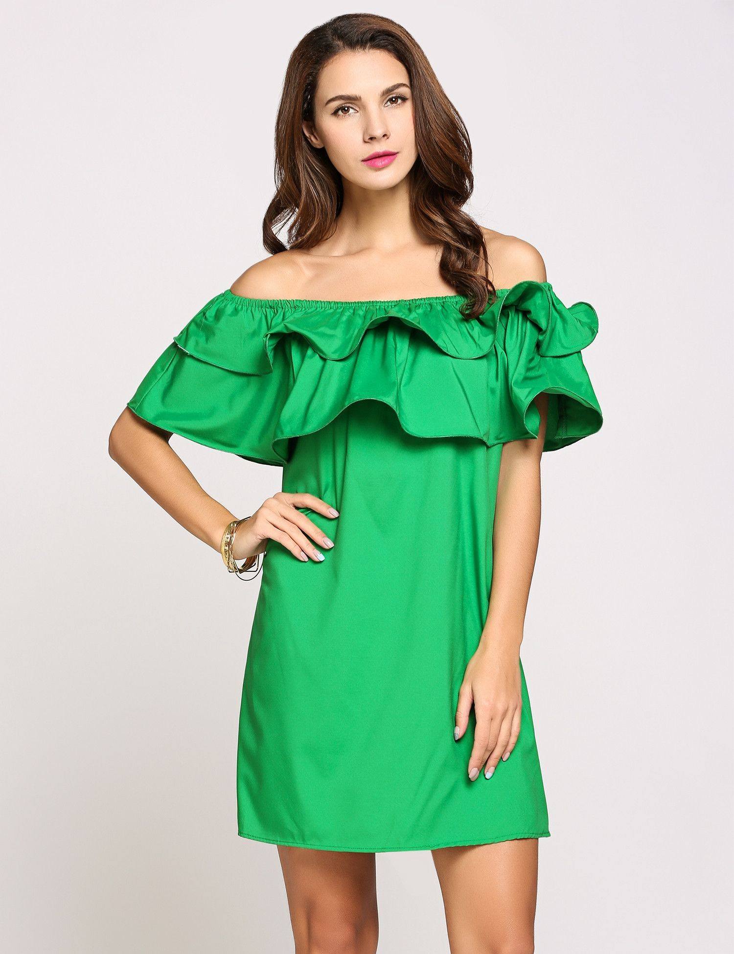 Green off the shoulder short ruffle sleeve solid mini loose casual