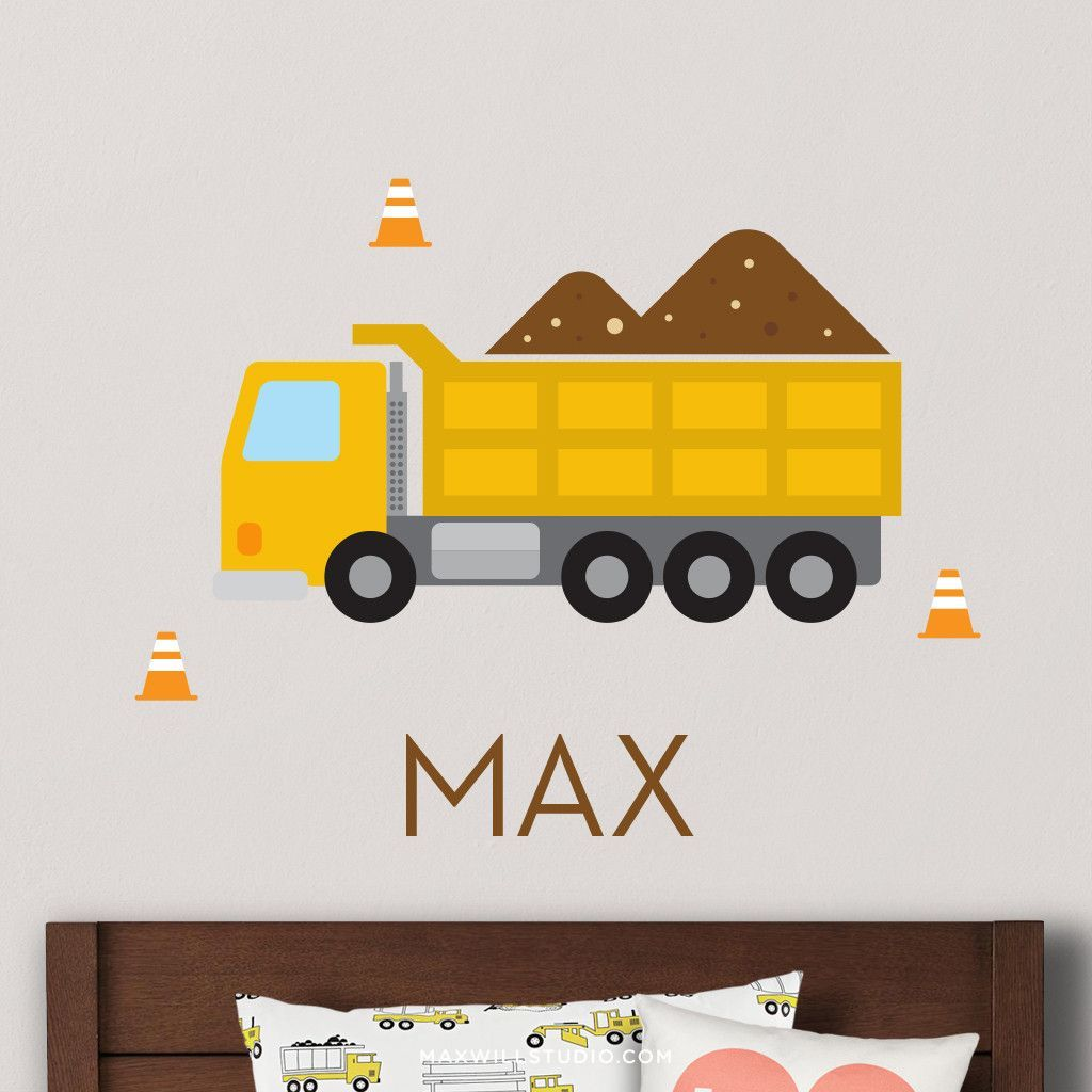 Overview Create The Perfect Nursery Or Kids Bedroom E With This Personalized Yellow Dump Truck Wall Decal Set From Maxwill Studio