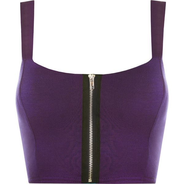 148dd472eef8a Lindsey Zip Detail Sleeveless Bralet ( 17) ❤ liked on Polyvore featuring  tops