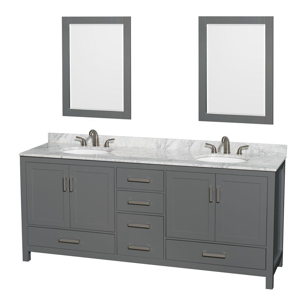 Sheffield 80 Inch Dark Gray Double Vanity Carrara Marble Top