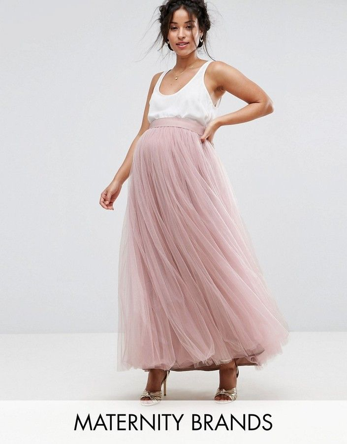 836a043a843 Little Mistress Maternity Maxi Tulle Skirt. Cute pink maxi skirt for  pregnancy. Beautiful pregnancy outfit for weddings.  Affiliate