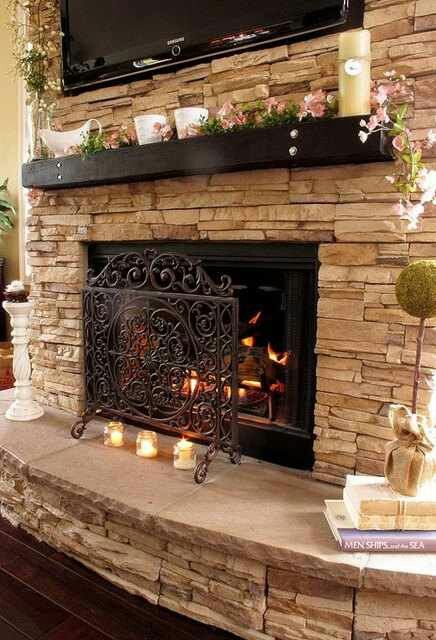 Amazing Beautiful Fireplace   Love The Dark Mantle That Would Match With  Dark Hardwood Floors.