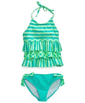 3852ed2a95 Angel Beach Girls' 2-Piece Ruffle Tankini Swimsuit | Clothes | Kids ...