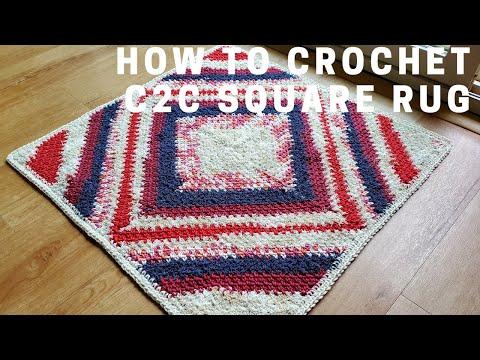 5141 How To Crochet C2c Square Rug Youtube Crochet Square Rugs Crochet Videos Tutorials