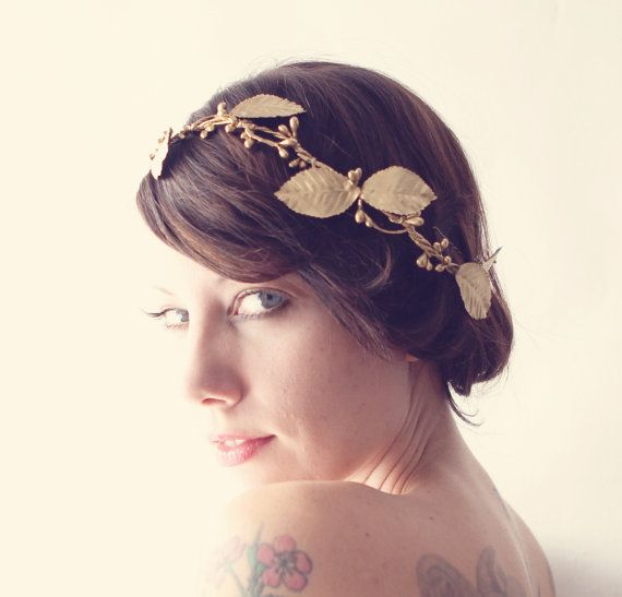 headband hair style golden bridal headpiece grecian leaf wedding crown by 9131