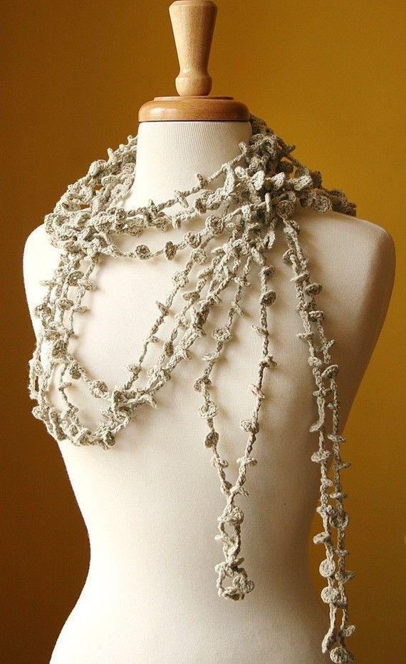 "eco-chic organic cotton crocheted ""sea kelp"" necklace / lariat -- design by elena rosenberg"