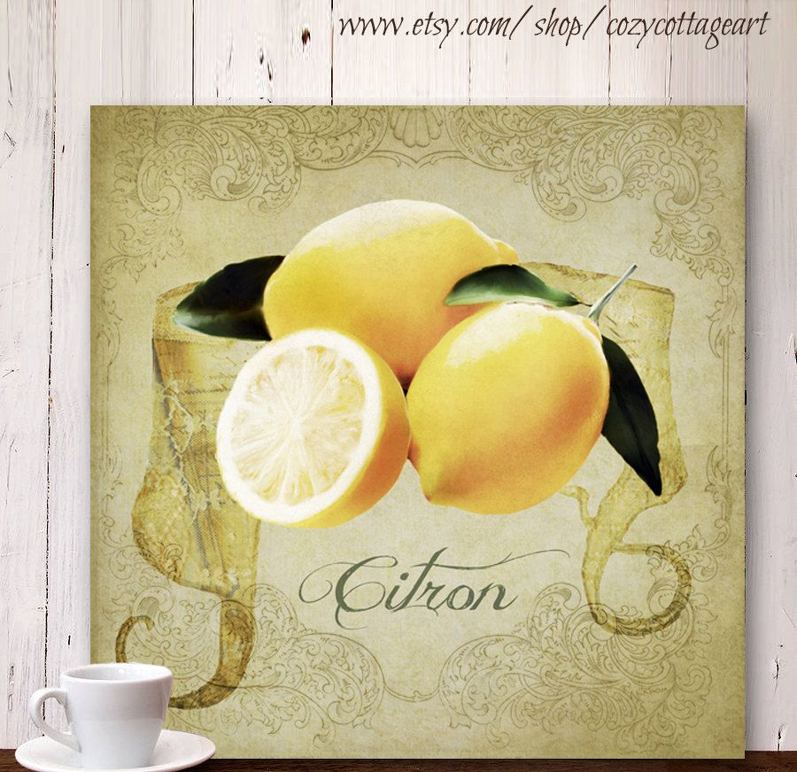 French Country Cottage Wall Art decor Fruit art mounted on wood ...