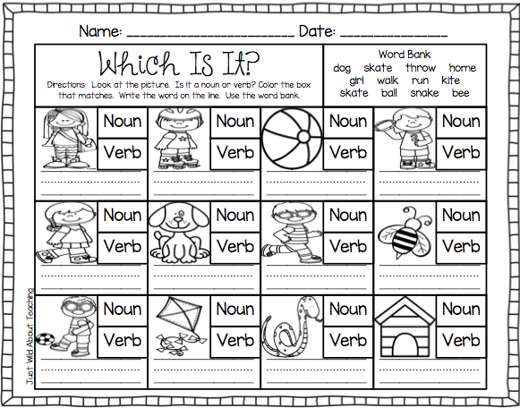 Teach Me - Nouns And Verbs! Nouns And Verbs, Nouns Kindergarten, Nouns  And Verbs Worksheets