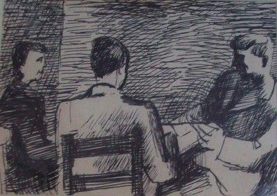 Keith Vaughan - Three seated figures.