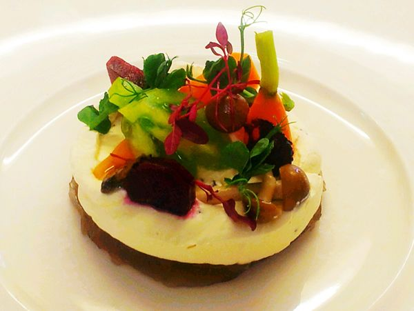 Cep jelly, truffle cream, baby pickled vegetables, pea shoots and shaved truffle at Wesley House #cotswolds