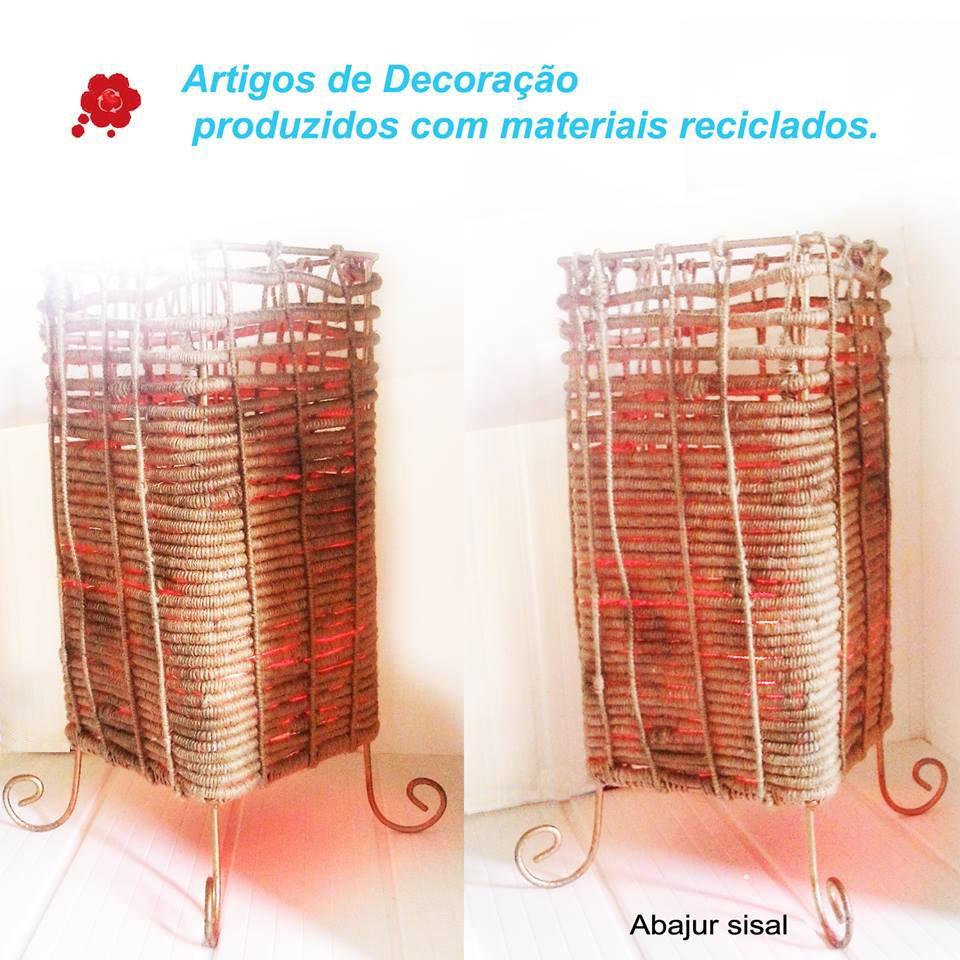 Ferragens, Sisal... Abajur produzido com variados materiais reciclados.
