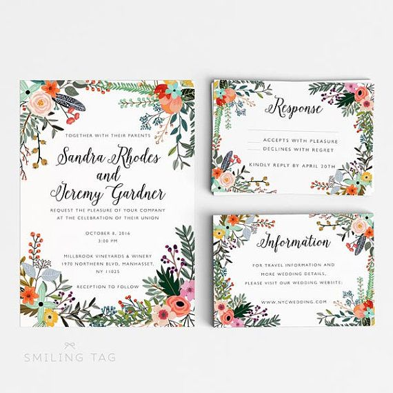 Botanical Wedding Invitation Suite, Wedding Invitation Printable