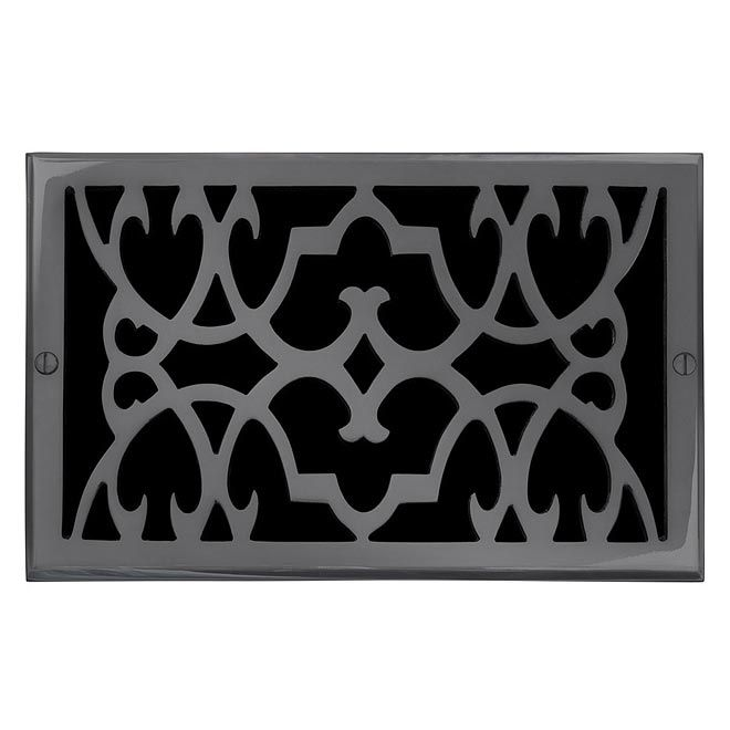 "This dark bronze finish solid brass air return vent cover with a victorian scroll design fits 6"" x 10"" duct openings and adds the perfect accent to your home decor."