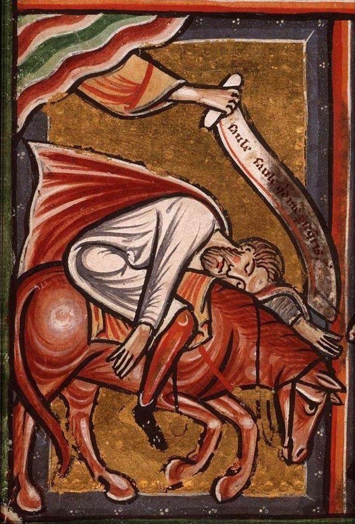 .:. Miniatura tratta da Bibbia figurata (1290-1300), Koninklijke Bibliotheek, L'Aia