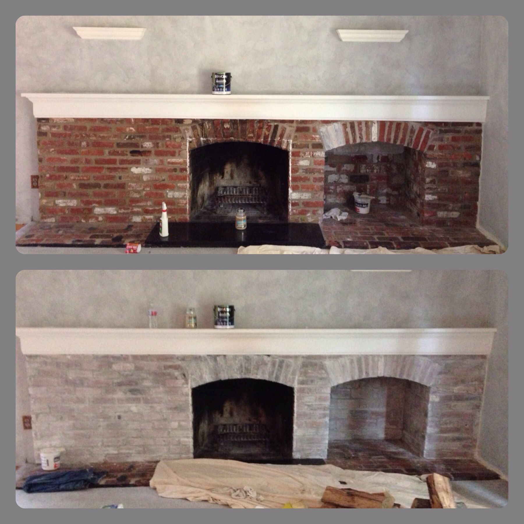 Whitewash brick fireplace parts interior flat white paint part