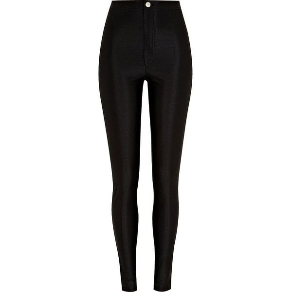 River Island Black super shine high waisted tube pants (€21) ❤ liked on Polyvore featuring pants, jeans, bottoms, calças, pantalones, trousers, river island, shiny nylon pants, highwaisted pants and high waisted trousers