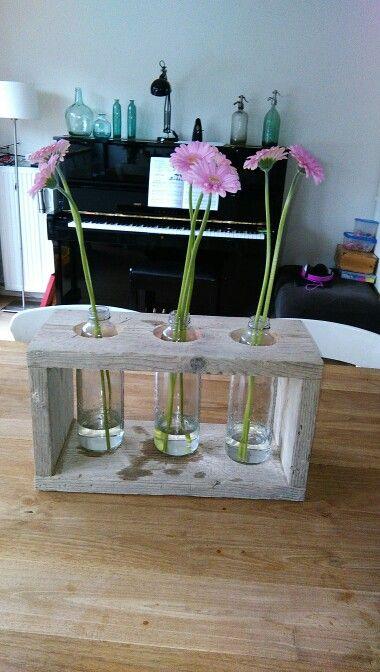 Steigerhouten frame met bloemen