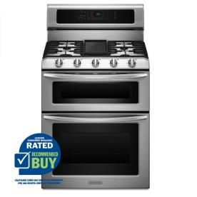 Genial KitchenAid 30 In Double Oven Convection Dual Fuel Range (Stainless Steel)
