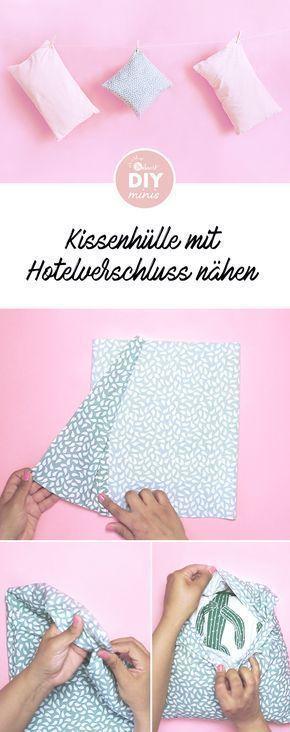 Photo of Kissenhülle mit Hotelverschluss nähen – kostenlose Nähanleitung via Makerist….