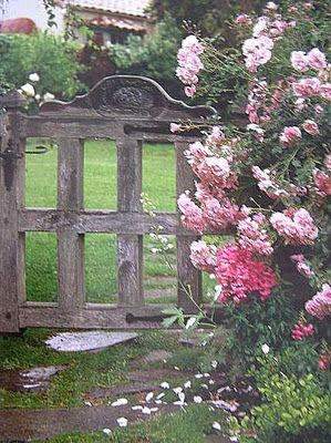 Pink flowers and garden gate. Gate could be a DIY of reclaimed lumber.