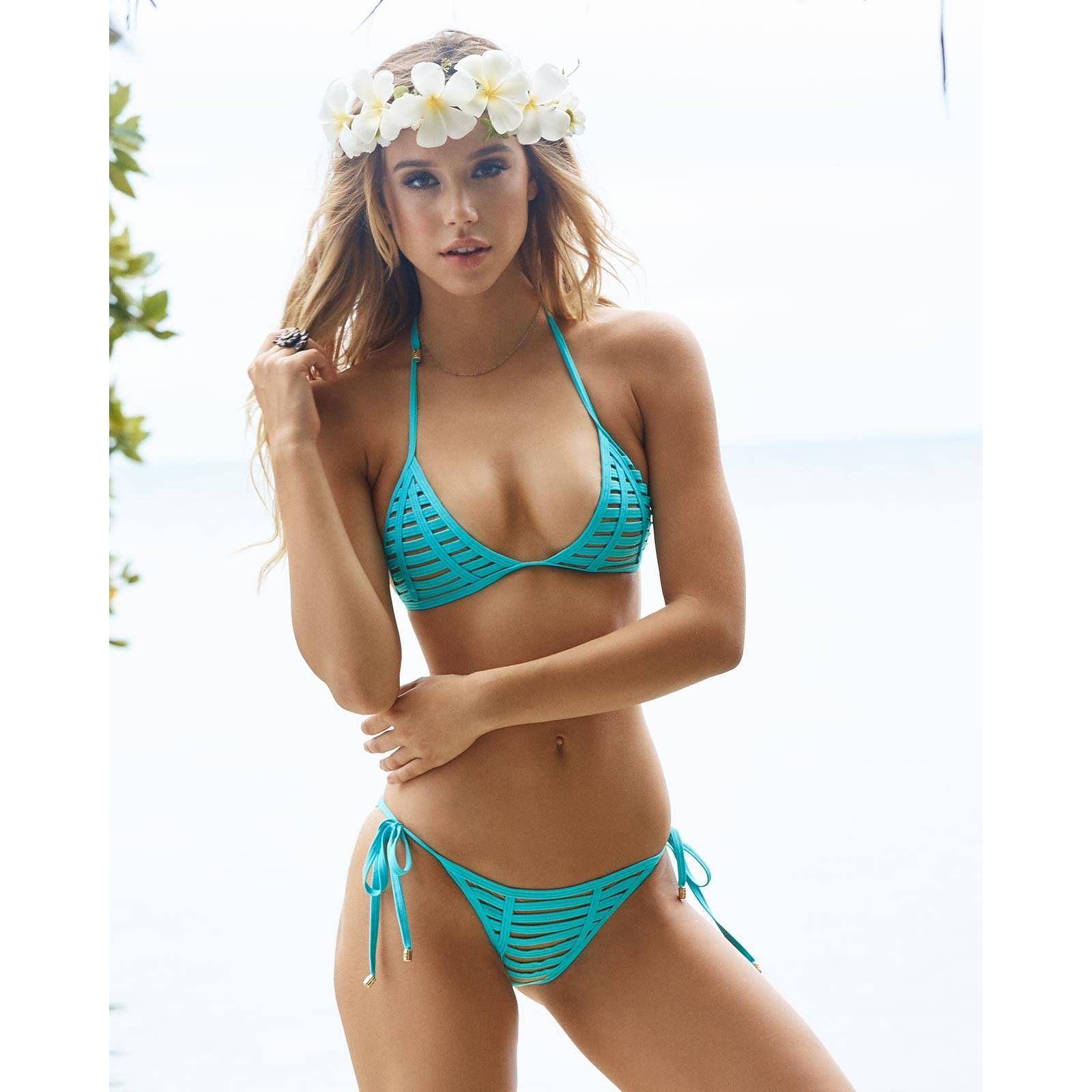 Beach Bunny 2017: HARD SUMMER AQUA TRIANGLE TIE SIDE BIKINI { B16104T1-AQUA-