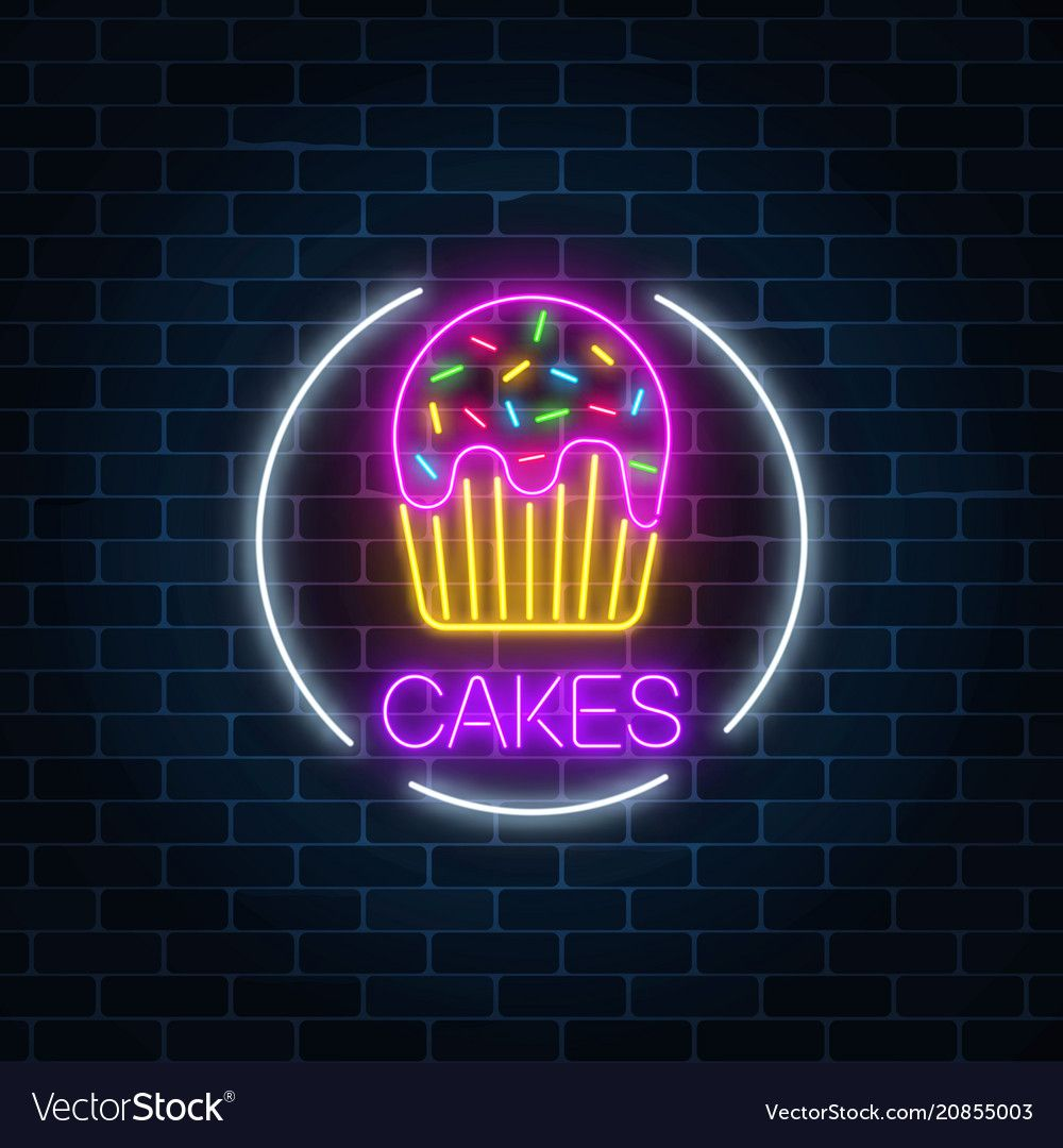 Neon glowing sign of cake with glaze in circle vector ...